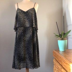 Aqua Leopard Chiffon Dress Size M
